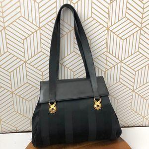 Vintage Salvatore Ferragamo black leather handbag